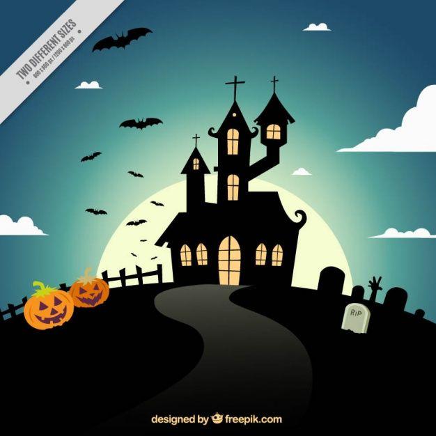 Arrière-plan avec une silhouette d'une maison enchantée Vecteur gratuit
