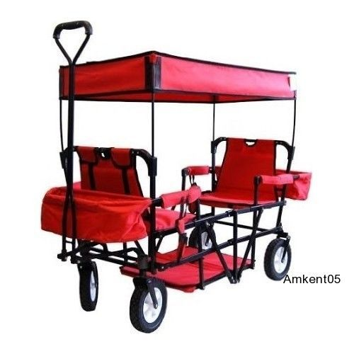 This is so adorable. Perfect for my niece and nephew for the park or when we're at the game.   Folding Little Red Wagon Utility Cart With Canopy Beach Camping Park Football