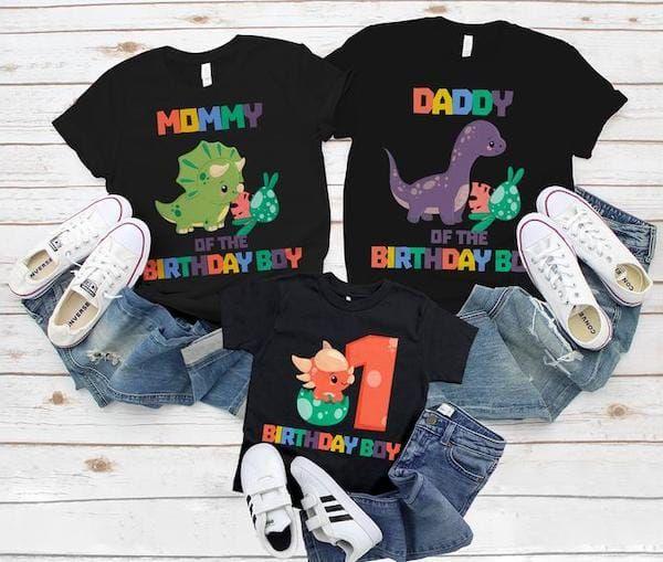 Dinosaur Birthday Shirts Family Coordinating Party Shirts.