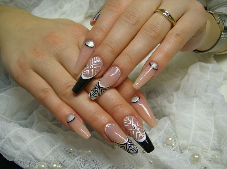 My work nail art, nails, Black and white nails