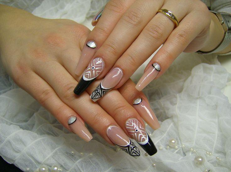 My work nail art, nails, Black and white nails
