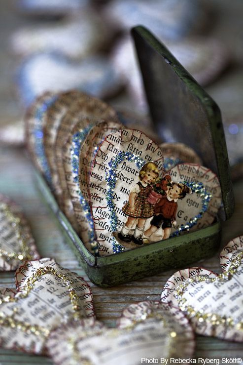 adorable old book pages, glitter, & cut-outs