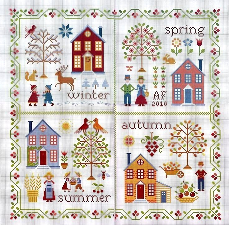 1 9  σχέδια με σπίτια για σταυροβελονιά  1 9  house cross stitch patterns    πηγή / source                        πηγή / source            ...