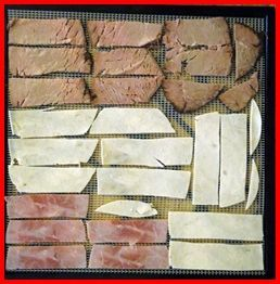 Dehydrating meat can be as simple as slicing up some lunch meat from the deli and drying it for a few hours in a food dehydrator. Once dehydrated, strips of deli ham, turkey, and roast beef can be eaten like beef jerky, or broken into pieces for use in a backpacking meal.    With a little more effort, you can also dry ground beef, turkey, or chicken.Christina Bailand