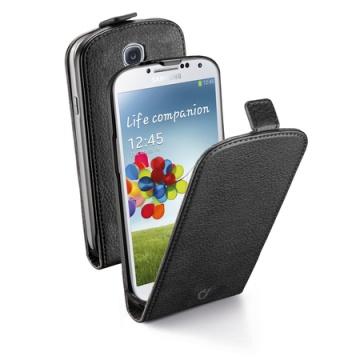 Husa Flap Cellularline Flapessgalaxys4Bk este facuta din piele ecologica de culoare neagra, de calitate pentru Samsung Galaxy S4 I9500