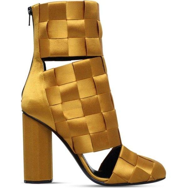 Marco De Vincenzo Woman Cutout Basketweave Satin Ankle Boots Mustard Size 35 Marco De Vincenzo jfUVTw