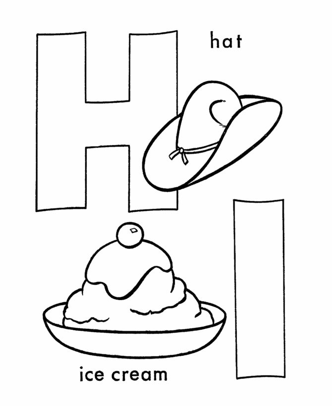 ABC Coloring Sheet, Letter H/I is for Hat and Ice Cream