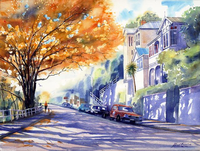 Autumn in Wellington,New Zealand. Watercolour by Alfred Memelink