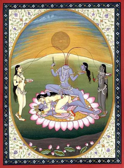 Kali as her destructive and creative Chinnamasta form, flanked by her two yoginis, Dakini and Varnini. Beneath her are Rati and Kama, the female and male principles of magic. Sex magic aims to abolish the experience of duality. Source: Radiant Manifestations of Emptiness http://sleepinginthepyre.tumblr.com/