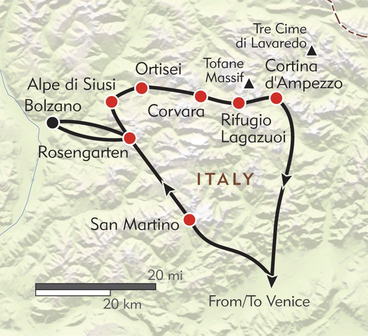 Map of the Dolomites where Gabriella took Agustin