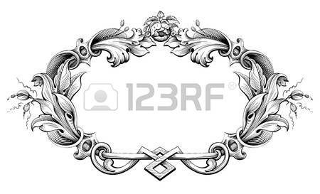 motif baroque: Vintage baroque cadre victorien monogramme frontière feuille floral ornement parchemin retriver fleur gravé design décoratif tatouage filigranes vecteur noir et blanc calligraphique blason swirl Illustration