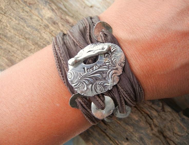 Love Jewelry, Silk Ribbon Wrap Bracelet, Hand Made Silver Bar Toggle Adjustable Yoga Style Wrist Wrap
