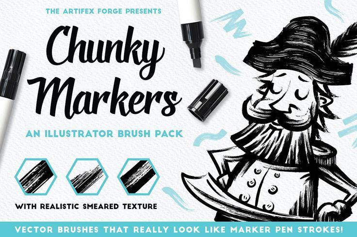 Chunky Markers - Illustrator Brushes - Brushes - 1 Vector marker pen brushes that really capture the smear and swipe of the real thing!I'm proud to release one of my most authenticvector brush packs yet - Chunky Markers. So, now you can create convincing marker pen artwork in Adobe Illustrator with ease.Why not expand your vector tool kit and give digital marker art a go? You could even try doing a bit of digital hand-lettering!