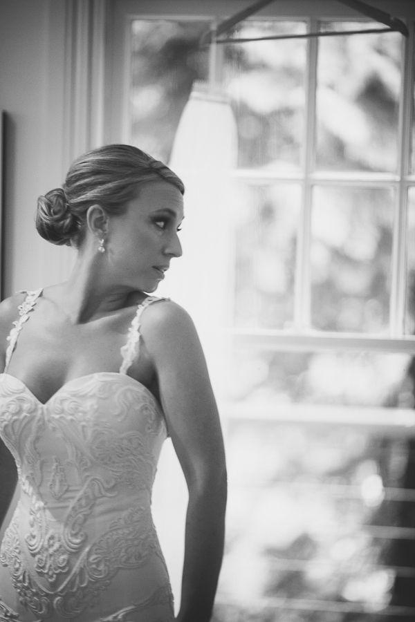 Details. Sarah in custom Peter De Petra Couture. Hand appliqued guipure lace.