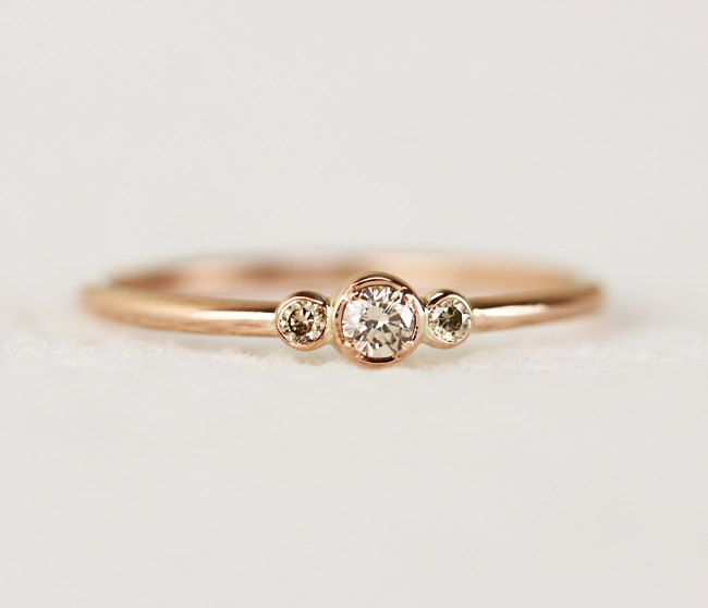 Three Stone Champagne Diamond Engagement Ring,Thin 3 Stone Dainty Bezel Set Engagement Ring,Three Stone Bezel Champagne Diamond Ring by KHIMJEWELRY on Etsy
