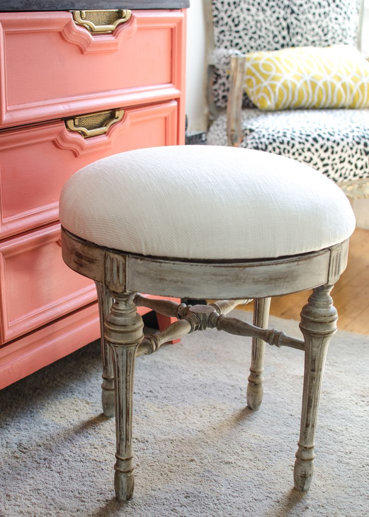 antique swivel stool redo - love the coral and gold dresser