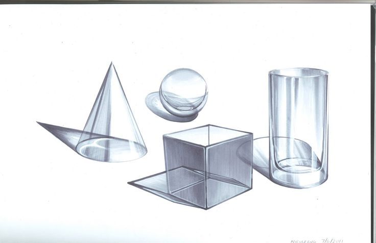 Copic markers have been used to render each object to look like glass. Linework is smooth and well blended. Reflections have also been included to show light interacting with the material.