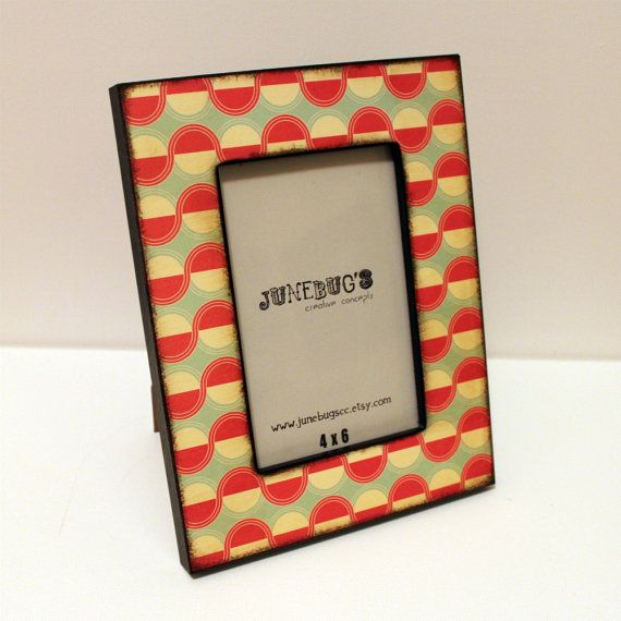4x6 Picture Frame Retro Dots Diner by JunebugsCC on Etsy, $22.00