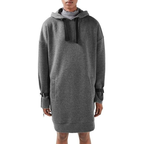 Women's Topshop Boutique Oversize Hoodie Dress ($100) ❤ liked on Polyvore featuring dresses, charcoal, oversized dress, drawstring dress, charcoal grey dress, charcoal gray dress and sweatshirt dress