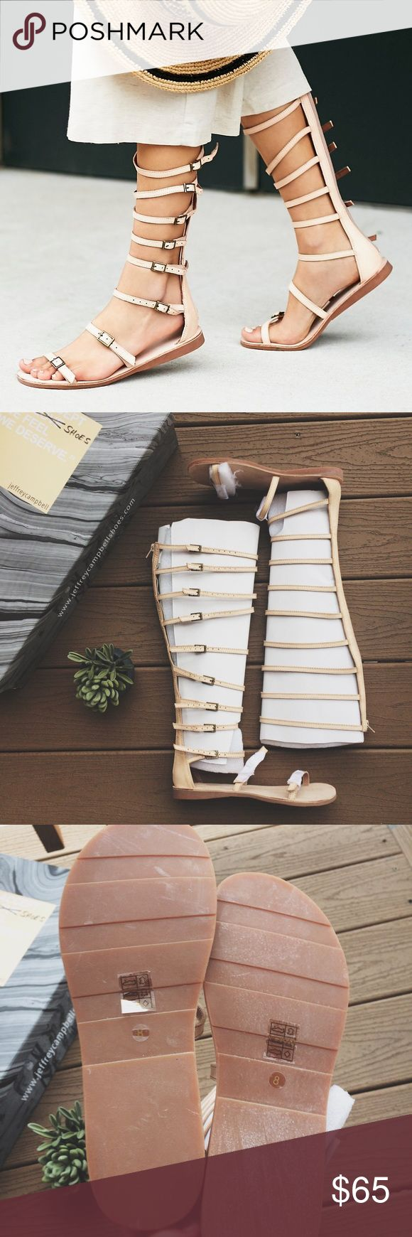 "🌿HP🌿 FP/Jeffrey Campbell ""Star Valley"" Gladiator (NEW IN BOX) Free People / Jeffrey Campbell ""Star Valley"" Gladiator Sandal in sz 8. Color is ""Natural,"" which is a peachy-nude shade. 🌿 Tried on 1x! I'm a true 7.5, but the 8 fit my foot perfectly! Zipper runs down shaft of sandal. I'm 5'6"" and these hit me around the knee. RTP $198 -- original box included. #jc #fp #roman #strappy #neutral #beach #buckle --- Measurements: sole approx 10"" long; shaft 15.25"" high; top strap is 14.""5 around…"