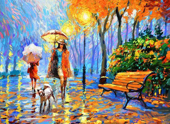 Gouden herfst. € 300,- Paletmes op doek door Dmitry Spiros. muur van kunst, regen schilderen, paraplu, kunst, herfst schilderij, kamer decor art canvas
