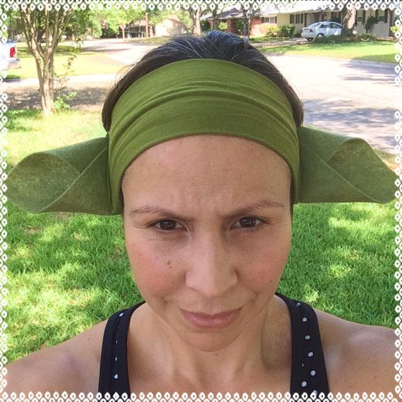 Yoda ears running headband 3 inches wide by ChickyBands on Etsy, $16.00 - I need to figure out how to make this for January!