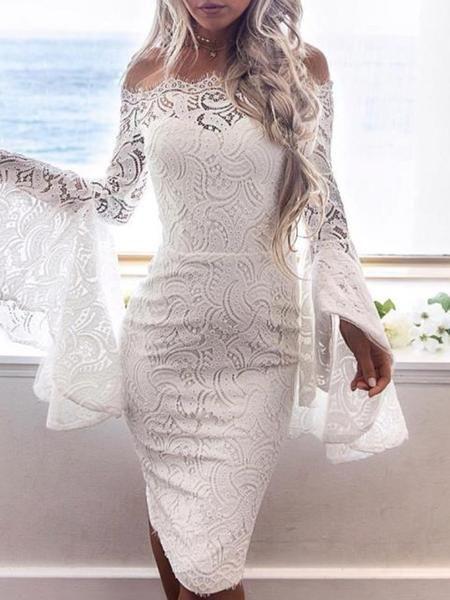 f32bf2c045 Material: Lace Silhouette: Bodycon Dress Length: Knee-Length Sleeve Length: Long  Sleeve Sleeve Type: Flare Sleeve Neckline: Slash Neck Combination Type: ...