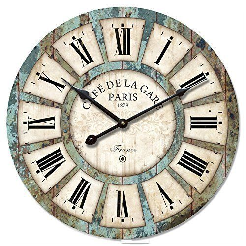 Eruner 12-inch Vintage Wood Wall Clock - France Paris Colourful French Country Tuscan Style Non-Ticking Silent Wooden Wall Clock (#03)  #12Inch #Clock #Colourful #Country #Eruner #France #French #NonTicking #Paris #RusticWallClock #Silent #Style #Tuscan #Vintage #Wall #Wood #Wooden The Rustic Clock