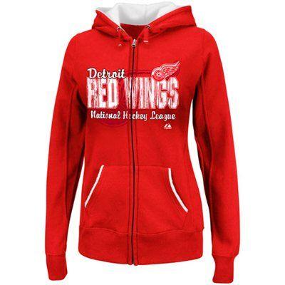 Majestic Detroit Red Wings Ladies Checking Full Zip Hoodie - Red