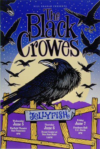 The Black Crowes Poster - Rock posters, concert posters, and vintage posters from the Fillmore, Fillmore East, Winterland, Grande Ballroom, Armadillo World Headquarters, The Ark, The Bank, Kaleidoscope Club, Shrine Auditorium and Avalon Ballroom.