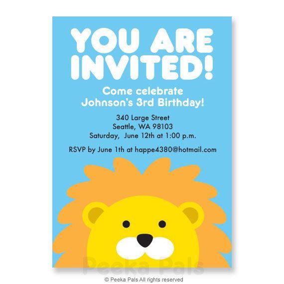 Personalized Printable Lion Birthday Invitation by PeekaPals, $9.99
