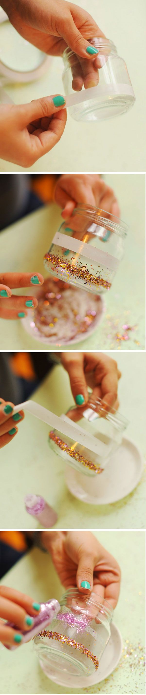 Glitter jar candle holders. such a cute idea for kids to make as xmas presents!