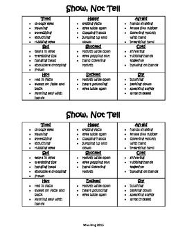 Show, Not Tell: Descriptive Word Chart for Student Journals