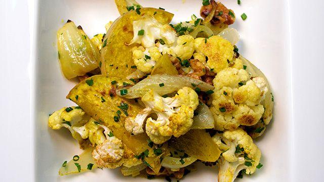 Mix de légumes d'automne rôtis, cari et noix de pacane par Anne Desjardins