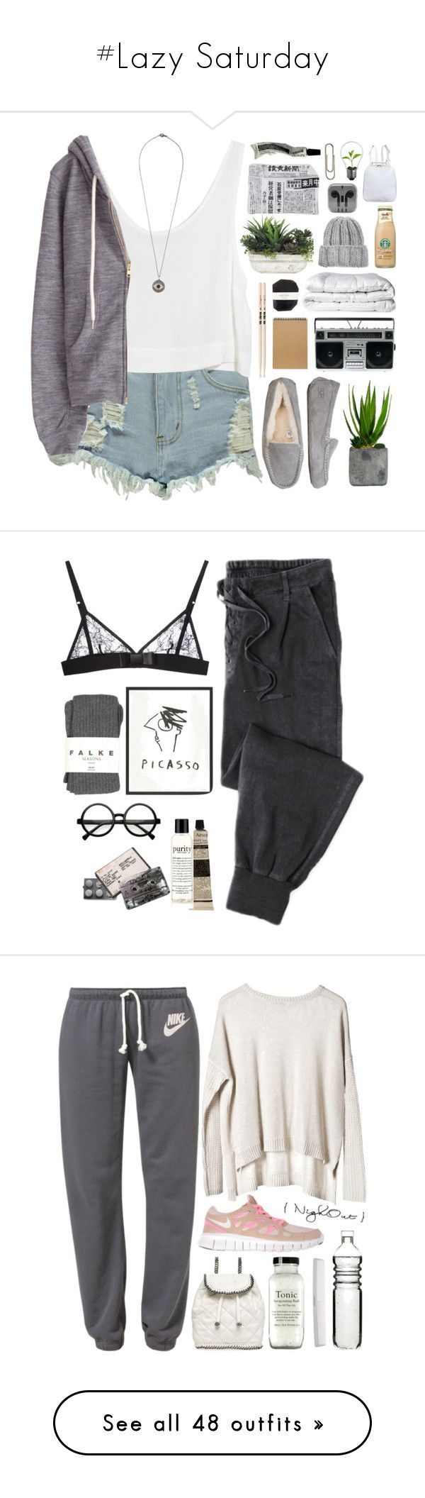"""""""#Lazy Saturday"""" by lolgenie ❤ liked on Polyvore featuring Lux-Art Silks, Boohoo, MINKPINK, UGG Australia, Laura Ashley, Muji, Firth, Brinkhaus, Pelle and KISS by Fiona Bennett"""