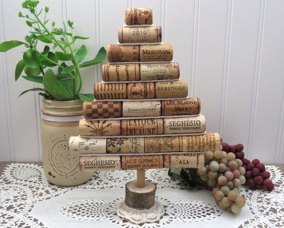 Mini Wine Cork Christmas Tree, Tabletop Decoration, Perfect for Rustic Cottage…