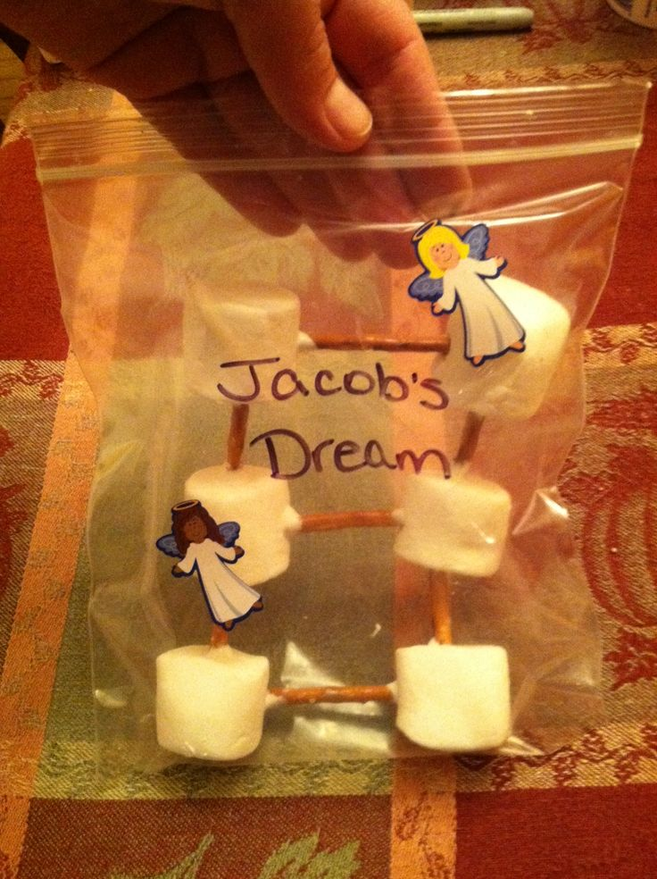 """Pre-k sunday school -Edible craft for """"Jacobs ladder"""": You will need marshmallows, pretzels, marshmallow Cream, a ziplock bag &sharpie, and angel stickers. #holycrosspoconos"""