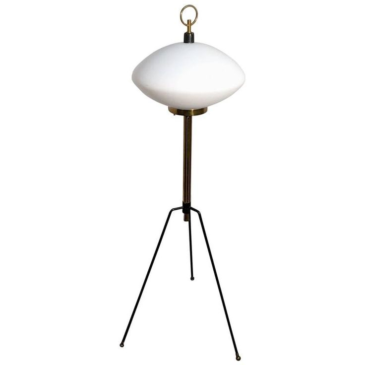 Stilnovo Tripod Floor Lamp with Opaline Shade