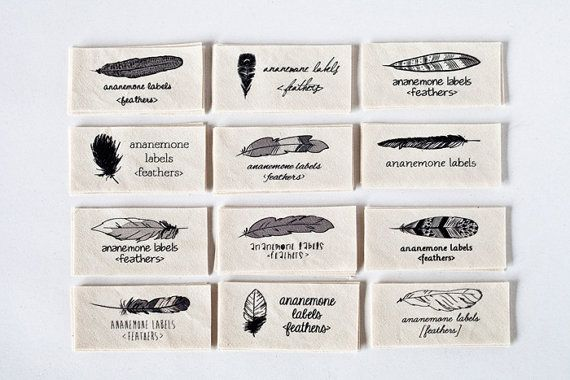 Personalized Sewing Labels with Feathers organic by ananemone