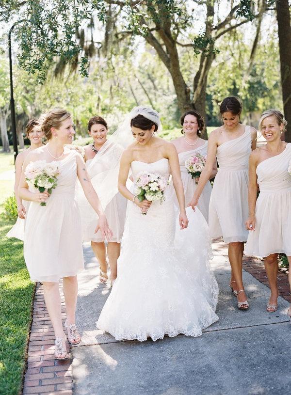 Pale bridesmaid's dresses