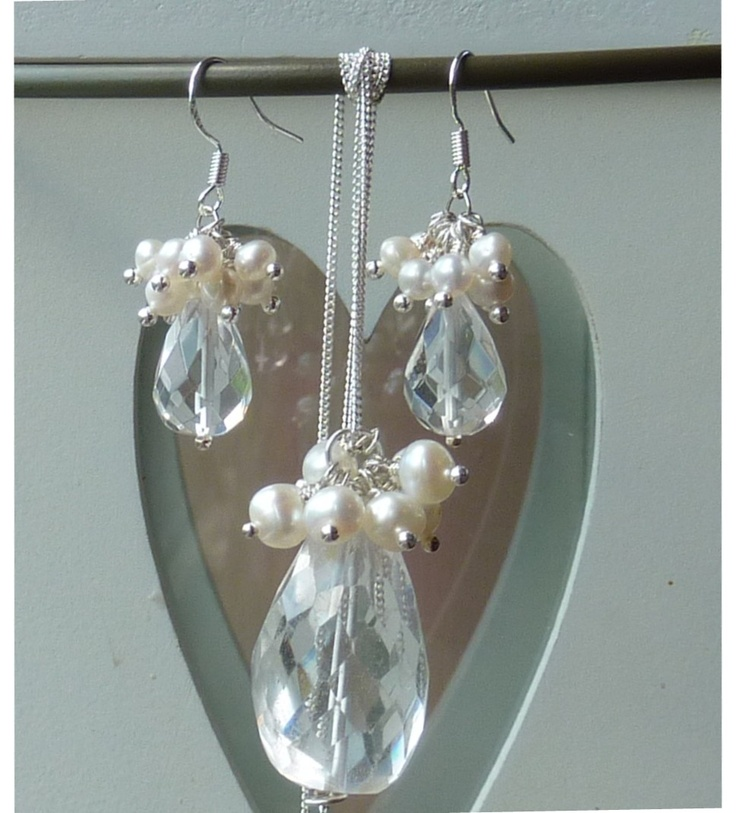 Rock crystal Quartz & Pearl pendant & earring set, 925 sterling silver throughout. Perfect bridal gift.