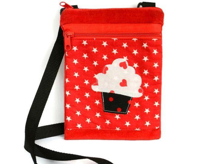 Red Cupcake Crossbody Travel Bag   Small Cell Phone Bag   Cross Body Bag   Messenger Bag   Sling Shoulder Bag   Colorful Bag   Small Day Bag #colorfulbag #cupcakebag #minimessenger #messengerbag #shoulderbag #crossbodybag #smalltravelbag #cellphonebag
