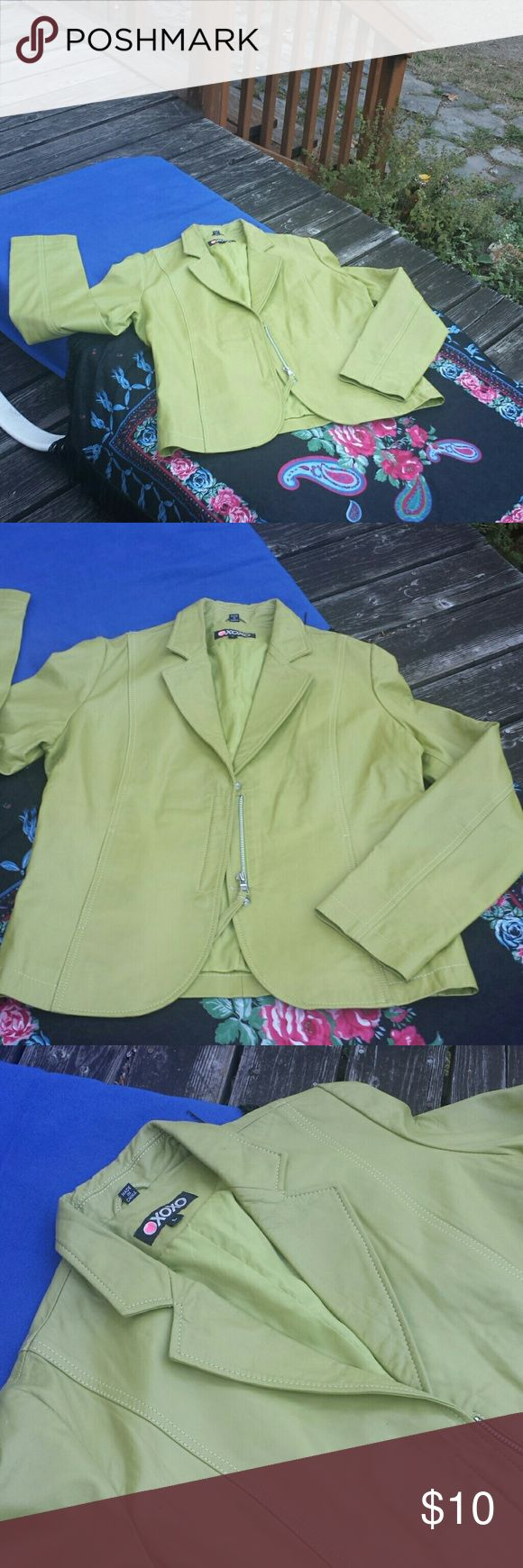 Large green leather jacket XOXO 1970s green..blazer style leather jacket..lined..pockets..zip front..sone wear but cute nonetheless XOXO Jackets & Coats Blazers