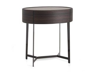 Oval wooden bedside table with drawers KELLY   Bedside table - Poliform