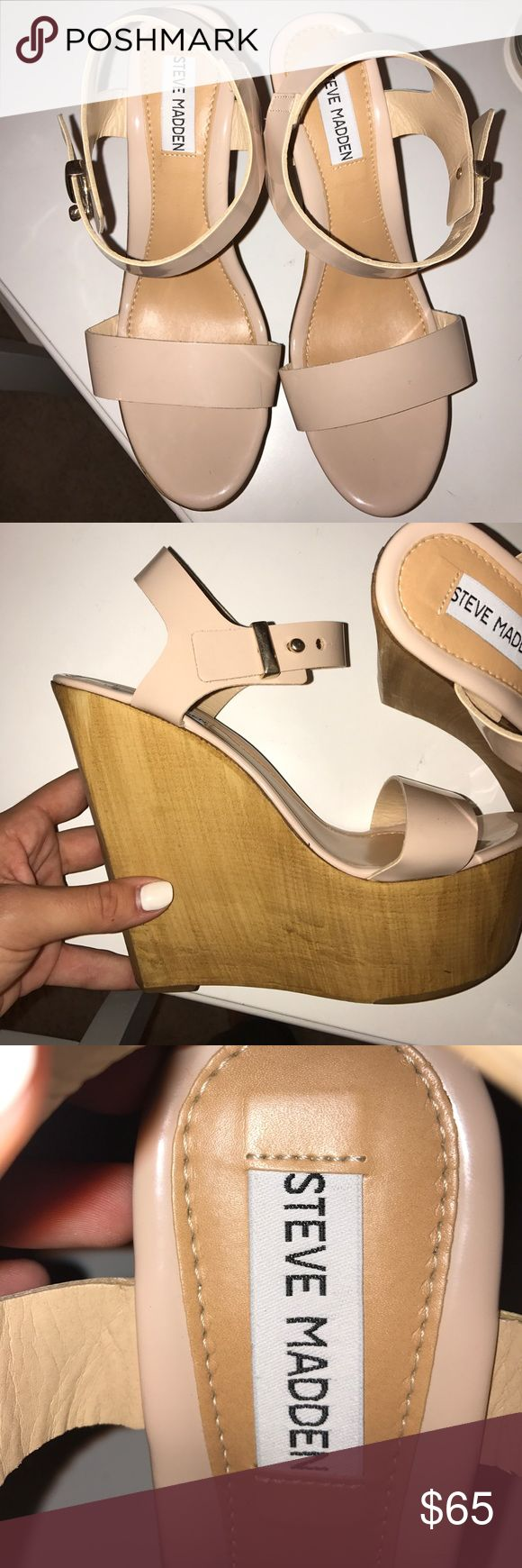 Steve Madden wedges Blush color wedges with gold. Great quality. Only worn once Steve Madden Shoes Wedges