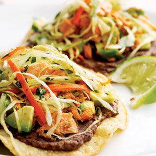 PESCeTARIAN Pickled jalapeños, cilantro and avocado perk up convenient canned salmon for a quick tostada topping.