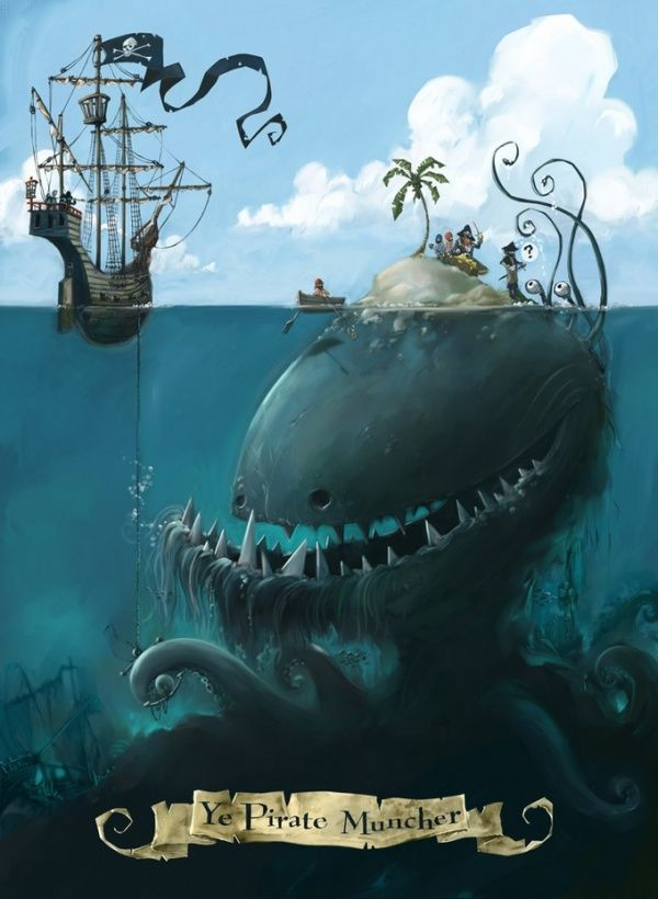 Ye Pirate Muncher - Johnny Duddle I WANT THIS FRAMED IN MY HOUSE MEEEEOW! goes well with all my other weird art