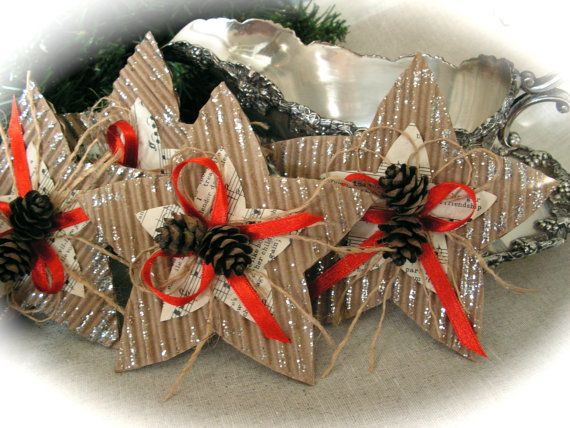 Music Paper Star Christmas Ornament Assortment by Mydaisy2000