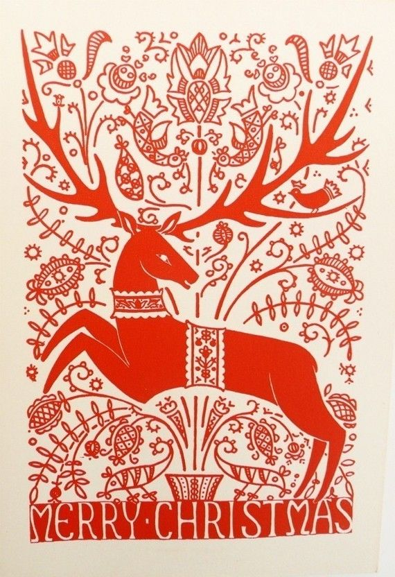 Five Vintage Christmas Cards with Stag by FoundVintageStyle