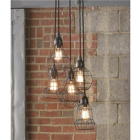 industrial cage light chandelier / farmhouse lighitng. I got this original link from a post on Design*Sponge where someone used it in a kitchen makeover. looks stunning. http://www.designsponge.com/2011/08/before-after-industrial-yet-cozy-kitchen-redo.html